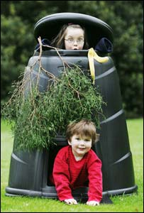 Child in compost bin