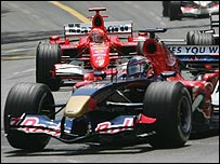 Michael Schumacher behind Christian Klien's Red Bull at the Monaco Grand Prix