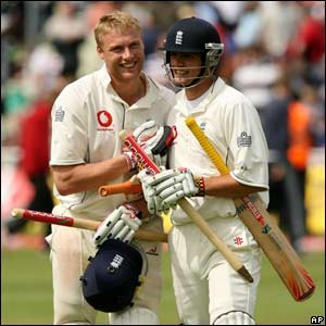 Alistair Cook and Andrew Flintoff