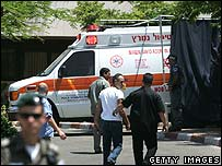 Ambulance arriving at Sheba Medical Center