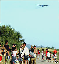 Refugees at Dili airport