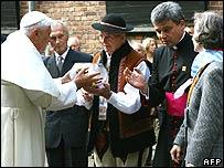 Pope greets survivors at Auschwitz