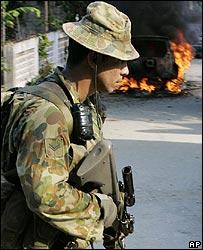 An Australian soldier on patrol in East Timor