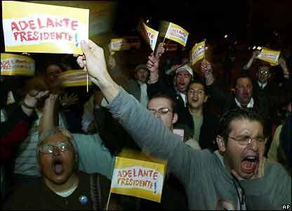 Seguidores de Uribe celebran el triunfo en Bogot�