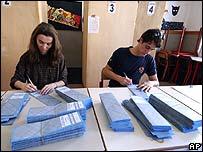 Officials prepare ballots in Milan in April