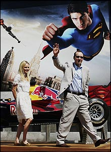 Actors Kate Bosworth and Kevin Spacey attend a Red Bull Racing and Superman Returns event prior to the race
