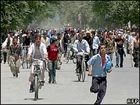 Protesters on the streets of Kabul