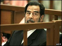 Saddam Hussein in court on 29 May 2006
