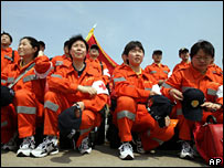 Members of Chinese International Search and Rescue Team heading for Yogyakarta