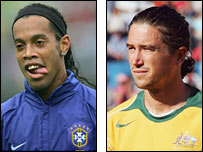 Ronaldinho (left) and Harry Kewell