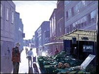 Painting of Folkestone town centre by Shane Record