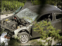 Car damaged by bomb in Athens