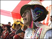 Andean farmers at an election rally in Cuzco