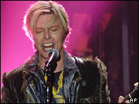 David Bowie on stage in 2004