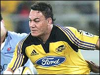 All Blacks flanker Chris Masoe in action for the Wellington Hurricanes