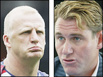 Iain Dowie (l) and Crystal Palace chairman Simon Jordan