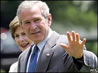 George W Bush with his wife Laura