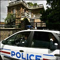 Policemen guard the house of the mayor of Montfermeil