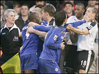 Chelsea and Fulham players square up at Craven Cottage