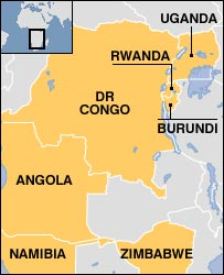 Map of DR Congo showing neighbouring countries