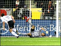Miroslav Klose scores to start the German comeback