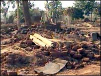 A grab from a video footage by Amnesty International showing the destruction in Porta Farm in 2005