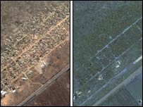 Satellite images of Porta Farm before and after the launch of Operation Murambatsvina