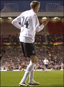 Peter Crouch does his celebration dance after scoring against Hungary