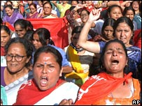 Nepalese women at a pro-democracy rally