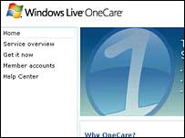 Screengrab of OneCare homepage, Microsoft