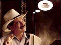 Juan Valdez dreams of coffee. Photo: Courtesy Cafe de Colombia