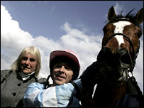 Pam Sly with jockey Micky Fenton and Speciosa after their Newmarket win
