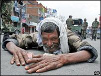 Protestor offering prayers