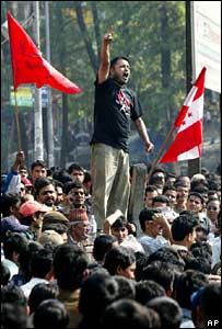 Gagan Thapa at a Kathmandu demonstration 15 April 2006