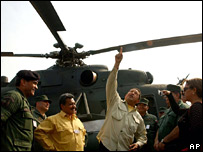 Venezuelan President Hugo Chavez inspecting one of the Russian-made helicopters in April