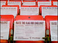 Flag sheets on seats at Old Trafford