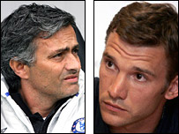 Jose Mourinho and Andriy Shevchenko