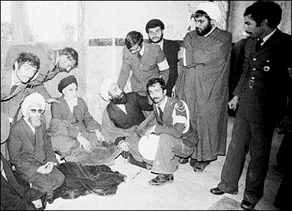 Ayatollah Khomeini stops at a mosque en route to his home city of Qom after his return from exile