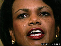 Condoleezza Rice giving her statement on Iran on 31 May 2006