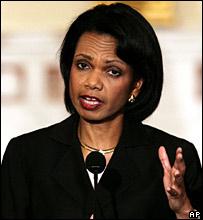 US Secretary of State Condoleezza Rice delivering her statement