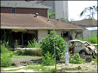 Abandoned house and car in New Orleans