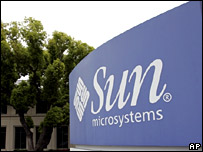 Exterior view of Sun Microsystems headquarters in Santa Clara, Calif