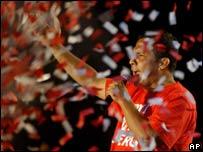 Ollanta Humala addresses his closing election rally in Lima