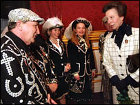 Princess Anne with Pearly Kings and Queens