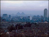 Cairo panorama, with the Giza Pyramids on the horizon