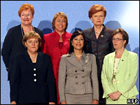 Women leaders and ministers: (top row, r-l) Tarja Halonen, Michelle Bachelet, Vaira Vike-Fraiberga, (bottom, r-l) Angela Merkel, Ana Vilma de Escobar, Carin Jaemtin