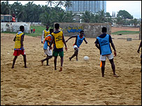 Training session on the beach