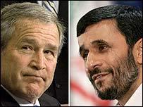 Bush y Ahmadinejad