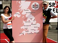 Davina McCall and Chris Evans point out the Sport Relief Miles