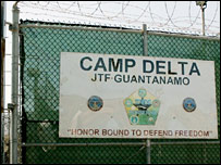 The main gate of Camp Delta in Guantanamo Bay